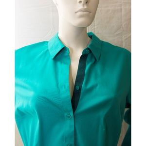 Coldwater Creek Teal Green No-Iron Blouse NWT 1X